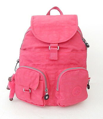 NWT Kipling Firefly Backpack With Furry Monkey Vibrant Pink