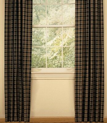 Country Cambridge Lined Panel Curtains 72WX84L Barn Red Pitch-black Favoured Tan Plaid