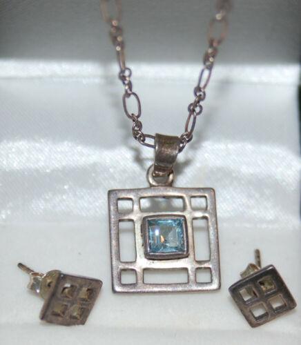 signed Geometric Earrings & Necklace set  Blue STONE Sterling Silver KIT HEATH