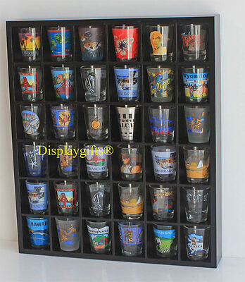 36 SHOT GLASS DISPLAY SHELF BAR CASE CABINET CURIO RACK Shadow Box MH37