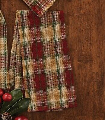 Country Sleigh Ride Dishtowel Red Green Gold Plaid Waffle-Weave Cotton