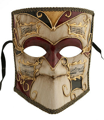 Mask from Venice Bauta Piou Black Red Golden Carnival Venetian 1171 V69B