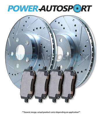 (FRONT) POWER CROSS DRILLED SLOTTED PLATED BRAKE ROTORS + CERAMIC PADS 56658PK