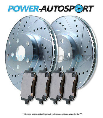 (REAR) POWER CROSS DRILLED SLOTTED PLATED BRAKE DISC ROTORS + PADS 82558PK