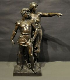 EMİLE LAPORTE (1858-1907) A LARGE BRONZE FİGURAL GROUP OF A MALE AND FEMALE