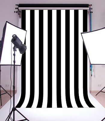 Backdrop Vinyl Photo Black And White Stripes Studio Prop 5x7Ft Background