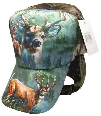 Redneck Camouflage Camo Three Deer Buck baseball style ball Hat Cap (RUF) - Redneck Hats
