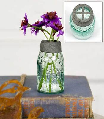 Mini Small Mason Canning Fruit Jar with Barn Roof Gray Flower Frog Lid](Mason Jar With Flowers)