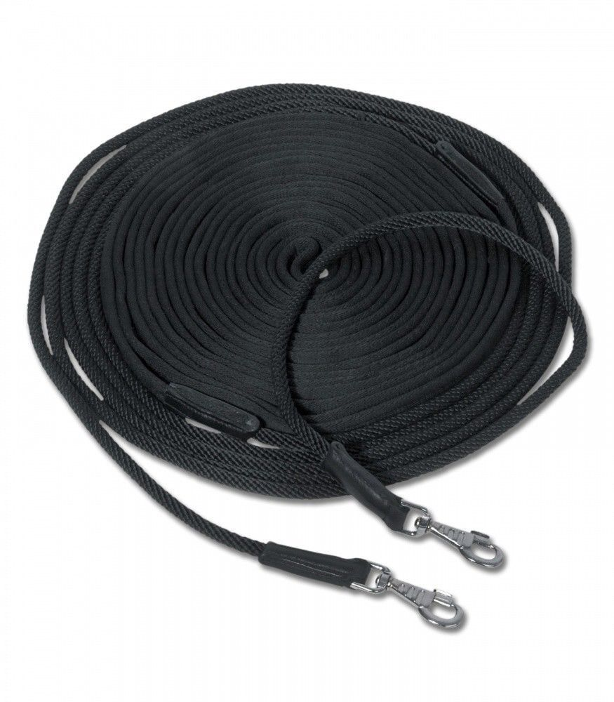 %% Waldhausen Doppellonge Gurtband schwarz mit runden Enden 16 oder 18 m %%