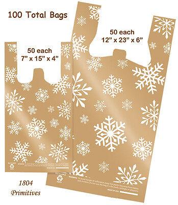 100 Total SNOWFLAKE Plastic Bags ~ Christmas ~ 50 Medium & 50 Small