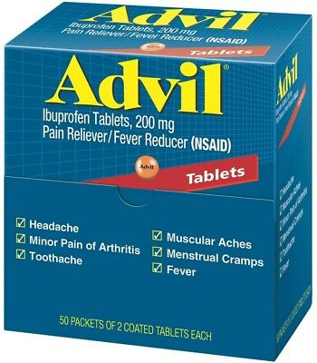 Advil Ibuprofen  200Mg  50 Packets Of 2 Coated Tablets