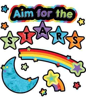 CD 110374 Aim for the Stars Rainbow Mini Bulletin Board Classroom Decorations
