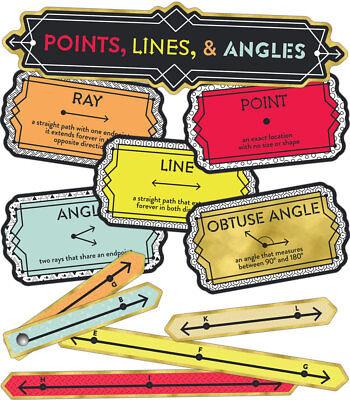 CD 110347 Points Lines Angles Math Geometry Mini Bulletin Board Teacher Supply  ()