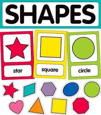 CD 110395 School Girl Style Just Teach Shapes and Math Skills Bulletin Board Set ()