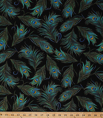 Cotton Plume Peacock Feathers Bird Cotton Fabric Print by the Yard D462.33