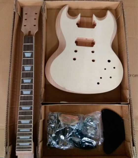 GD590 DIY Electric Guitar Kit Set in Mahogany Body Veneer Ebony f/b Bone nut.