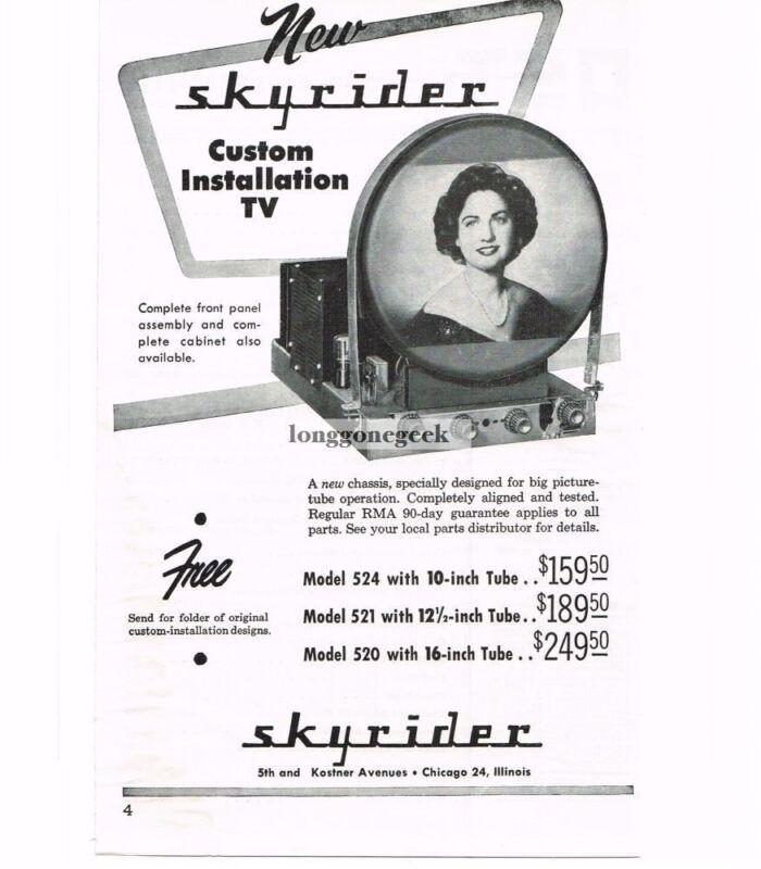 1949 Skyrider Custom TV Television Chassis VINTAGE Print Ad