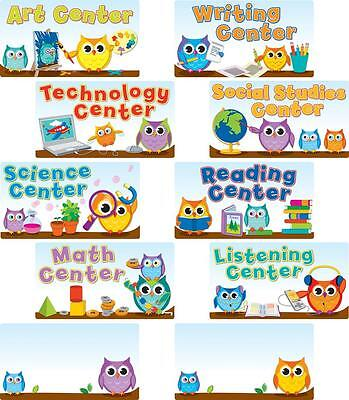 CD-110274 OWL COLORFUL CENTER SIGNS BULLETIN BOARD SET CLASSROOM DECORATION NEW