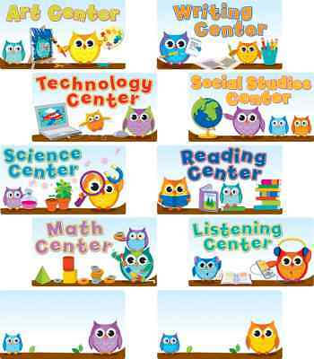 CD 110274 Colorful Owls Center Signs Mini Bulletin Board Set (Center Signs Mini Bulletin Board)