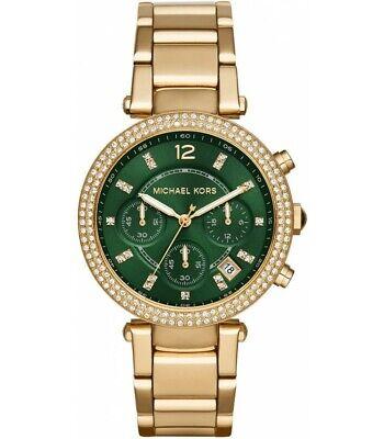 Michael Kors MK 6263 Women's Parker Chronograph Glitz Gold Tone Green Dial Watch
