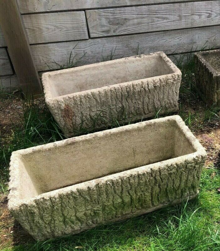 "Vintage Rectangular Concrete Faux Wood Garden Planter 11.5"" x 24.5"" x 9"" High"