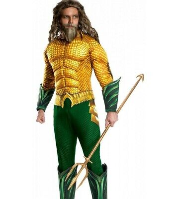 Dc Comic Costume (Deluxe Aquaman Costume DC ComicsAdult Mens Aqua Man Superhero - Std & XL)