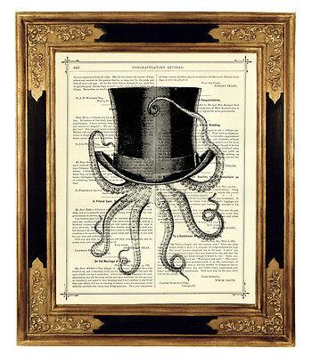 Oktopus Kraken Zylinder Hut Steampunk Kunstdruck auf antiker Buchseite Octopus