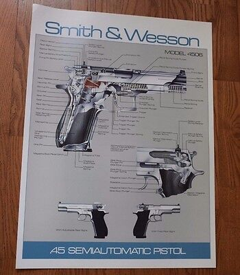 SMITH & WESSON MODEL 4506 GUN POSTER. NEW! GREAT FOR  MAN CAVE.