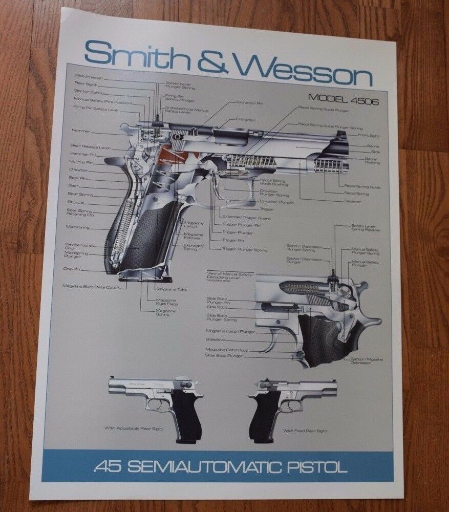SMITH & WESSON MODEL 4506 POSTER. NEW! GREAT FOR  MAN CAVE.