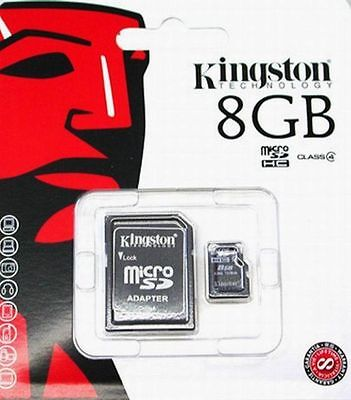 Genuine Kingston 8GB micro SD Memory Card For Camera & Mobile Phone + SD Adapter