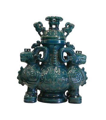 Chinese Ceramic Green Glaze Rams Ceremony Figure cs690-19