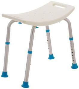 NEW AquaSense Adjustable Bath and Shower Chair with Non-Slip Seat, White Condition: New