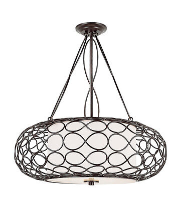 Brown And Frosted Glass 3 Light Chandelier/Pendant
