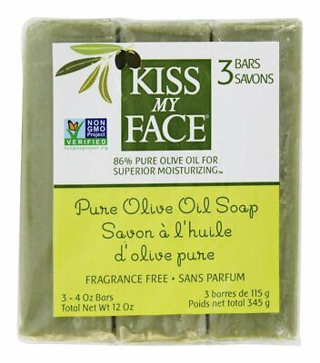 Kiss My Face Olive Oil Bar Soap 86% PURE 3-4oz Bars  New and Sealed