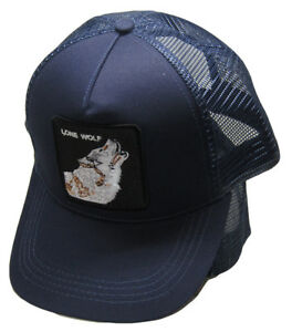Lone Wolf Navy Blue Animal Farm Trucker Embroidered Mesh Snapback Hat Cap