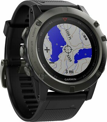 Garmin Fenix 5x 51MM Sapphire GPS Watch Mapping Wrist HR - Slate Gray Black Band
