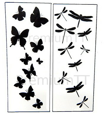 y Black Silhouette Tattoo Tattoos - 6 sheets  (Butterfly Tats)