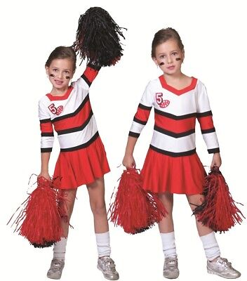 Cheerleader Kostüm Angie für Kinder Kleid Rot Schwarz - Cheerleader Kostüm Für Kinder
