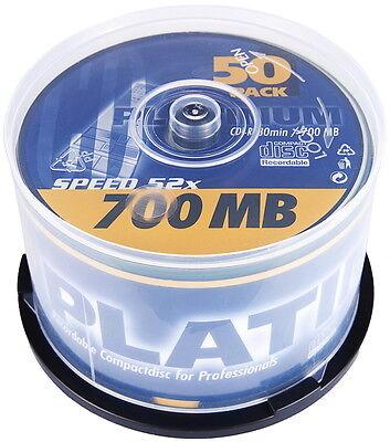 50 Platinum Rohlinge CD-R 80Min 700MB 52x Spindel