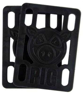 Pig Piles Hard Skateboard Riser Pads [Pair] Skate Risers 1/4 Black
