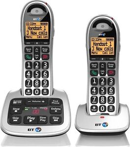 BT4500 TWIN DIGITAL CORDLESS HOME PHONE BIG BUTTON & ANSWER PHONE & SPEAKERPHONE