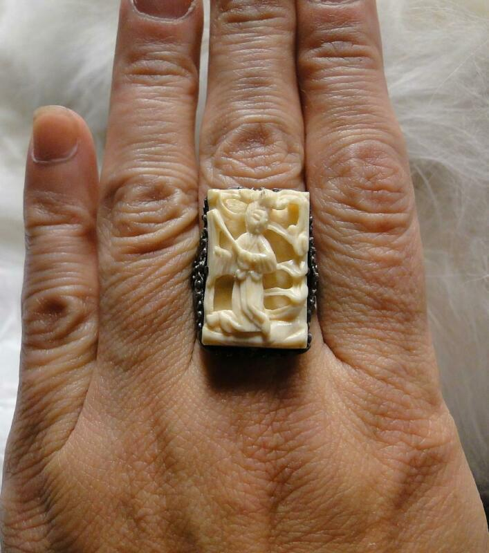 Vintage Chinese Export Art Deco Filigree Carved IMMORTAL Sterling Silver Ring!