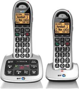 BT 4500 TWIN DIGITAL CORDLESS TELEPHONE BIG BUTTON PLUS ANSWER PHONE & HANDSFREE