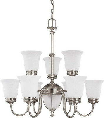 Brushed Nickel 9+2 Light Chandelier With Frosted Linen Glass