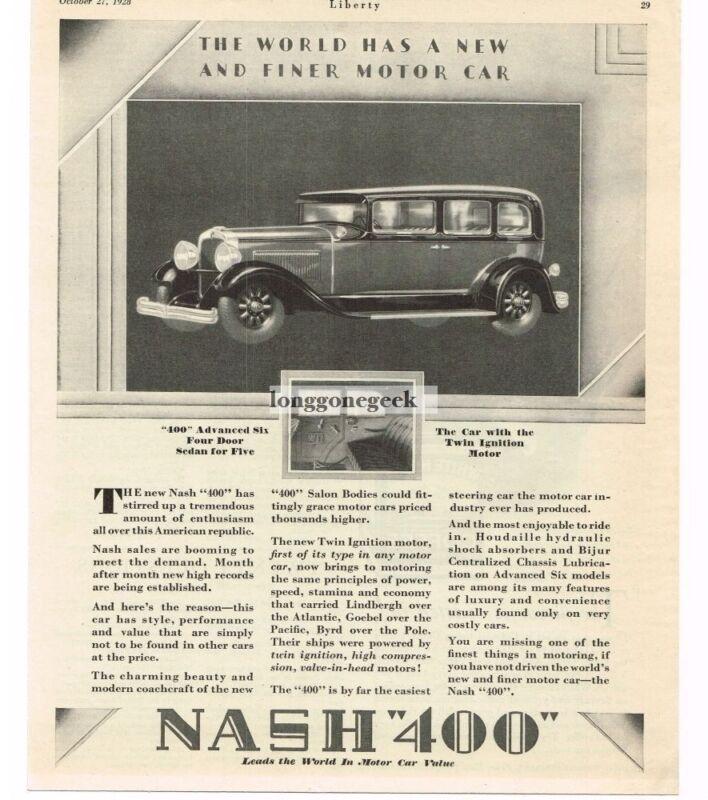 1928 Nash 400 4-door Sedan Automobile Car Vintage Ad