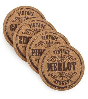 NEW Wine Lovers Gift Cork Coaster Set of 4 Designs Grapevine Varietal Coasters