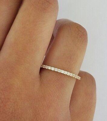 Diamond Anniversary Wedding Band 1.5 mm Fine Thin Stackable Ring 14k Yellow Gold ()