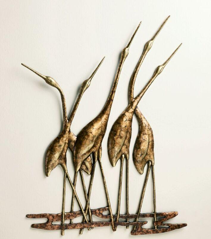 Crane Quintet Wall Art Sculpture Metal Heron Bird Gold Bronze Coastal Wildlife
