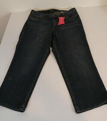 Cropped Jeans Spandex (Lane Bryant Size 14 Secret Slimmer Cropped Jeans Cotton Spandex Stretch)