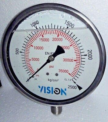 High Pressure Gauge Dual Scale 0 2500 Bar 0-35000 Psi Stainless Steel